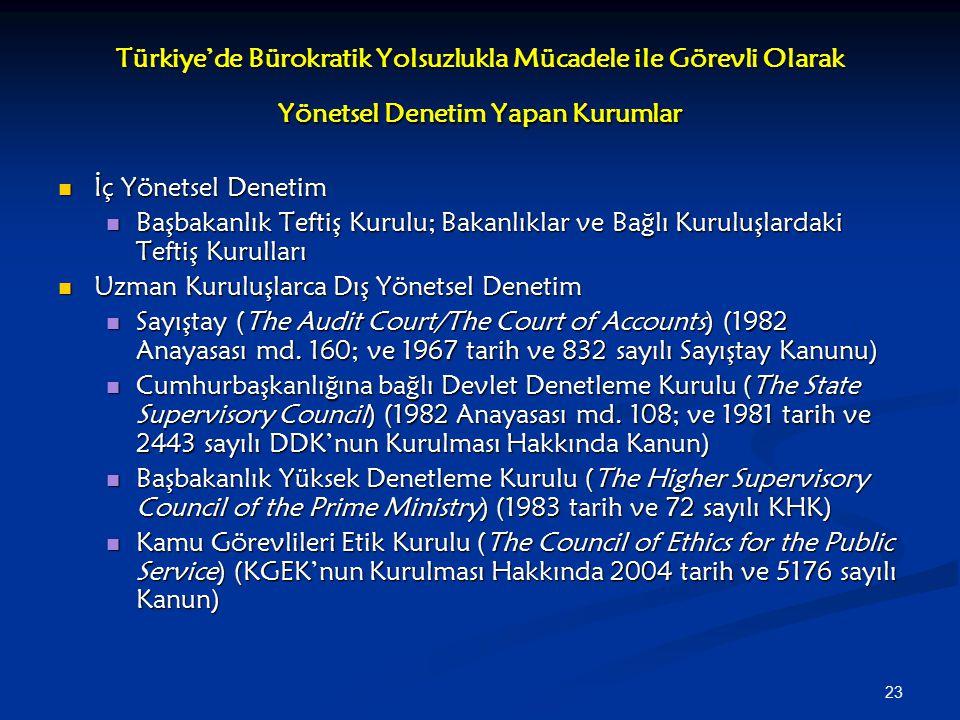 23 Türkiye'de Bürokratik Yolsuzlukla Mücadele ile Görevli Olarak Yönetsel Denetim Yapan Kurumlar İç Yönetsel Denetim İç Yönetsel Denetim Başbakanlık T