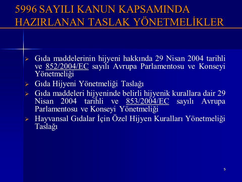 5 5996 SAYILI KANUN KAPSAMINDA HAZIRLANAN TASLAK YÖNETMELİKLER   Gıda maddelerinin hijyeni hakkında 29 Nisan 2004 tarihli ve 852/2004/EC sayılı Avru