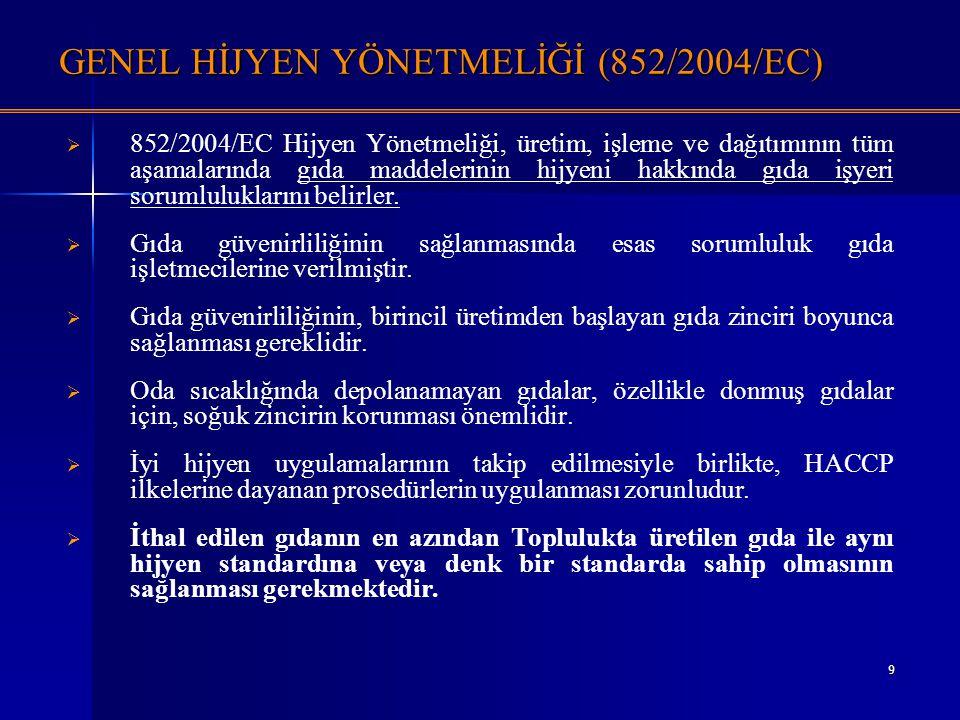 9 GENEL HİJYEN YÖNETMELİĞİ (852/2004/EC)   852/2004/EC Hijyen Yönetmeliği, üretim, işleme ve dağıtımının tüm aşamalarında gıda maddelerinin hijyeni