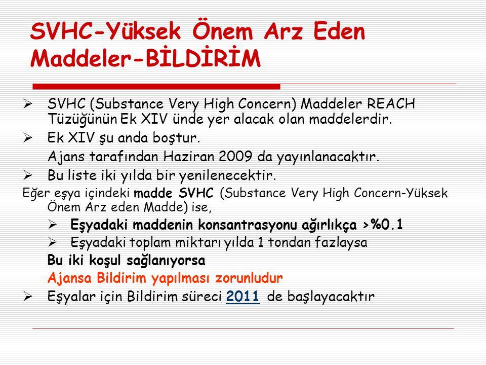 SVHC-Yüksek Önem Arz Eden Maddeler-BİLDİRİM  SVHC (Substance Very High Concern) Maddeler REACH Tüzüğünün Ek XIV ünde yer alacak olan maddelerdir.  E
