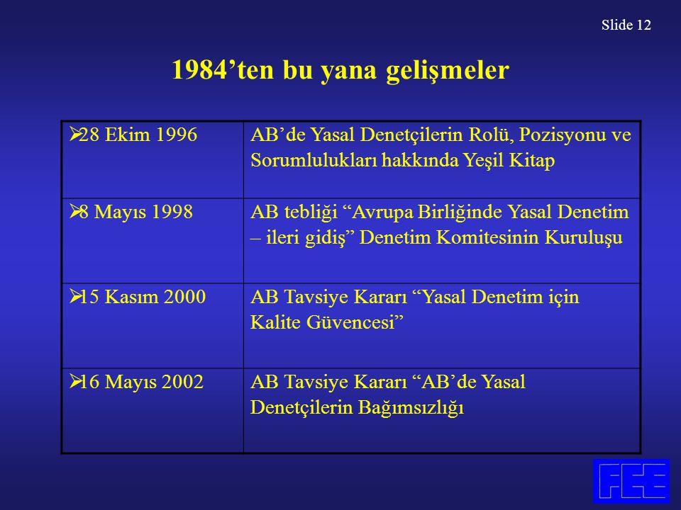 Slide 12 1984'ten bu yana gelişmeler  28 Ekim 1996 AB'de Yasal Denetçilerin Rolü, Pozisyonu ve Sorumlulukları hakkında Yeşil Kitap  8 Mayıs 1998 AB tebliği Avrupa Birliğinde Yasal Denetim – ileri gidiş Denetim Komitesinin Kuruluşu  15 Kasım 2000 AB Tavsiye Kararı Yasal Denetim için Kalite Güvencesi  16 Mayıs 2002 AB Tavsiye Kararı AB'de Yasal Denetçilerin Bağımsızlığı