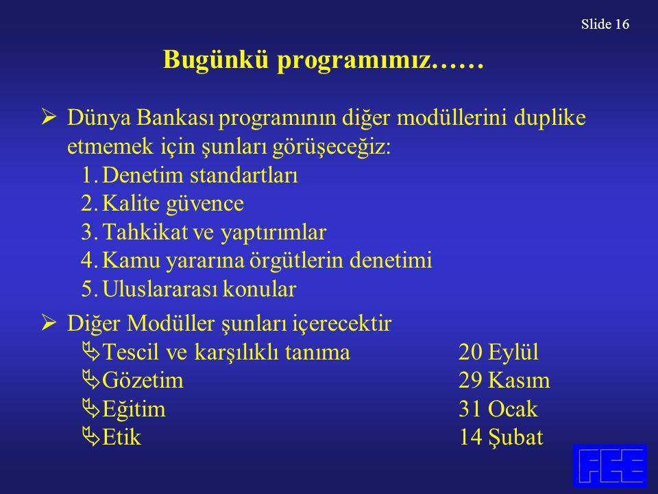 Slide 16  Dünya Bankası programının diğer modüllerini duplike etmemek için şunları görüşeceğiz: 1.Denetim standartları 2.Kalite güvence 3.Tahkikat ve yaptırımlar 4.Kamu yararına örgütlerin denetimi 5.Uluslararası konular  Diğer Modüller şunları içerecektir  Tescil ve karşılıklı tanıma20 Eylül  Gözetim29 Kasım  Eğitim31 Ocak  Etik14 Şubat Bugünkü programımız……