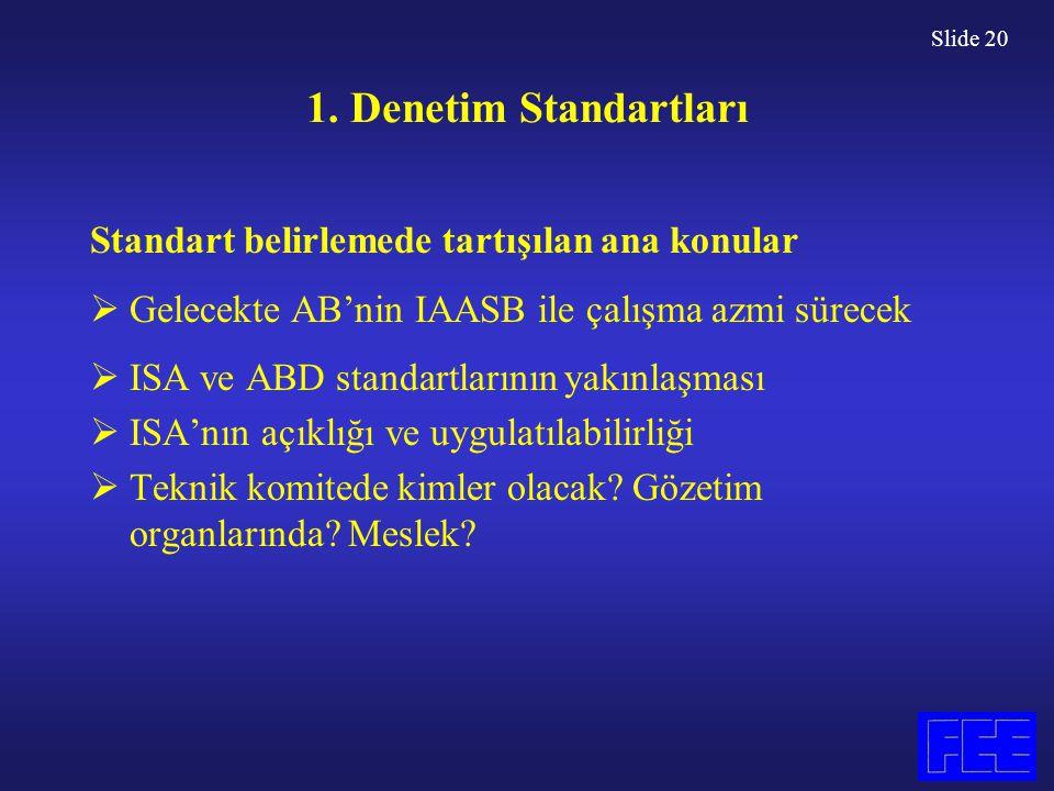 Slide 20 1. Denetim Standartları Standart belirlemede tartışılan ana konular  Gelecekte AB'nin IAASB ile çalışma azmi sürecek  ISA ve ABD standartla