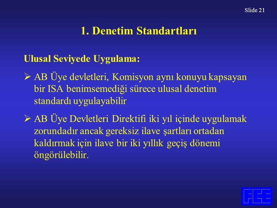 Slide 21 1. Denetim Standartları Ulusal Seviyede Uygulama:  AB Üye devletleri, Komisyon aynı konuyu kapsayan bir ISA benimsemediği sürece ulusal dene