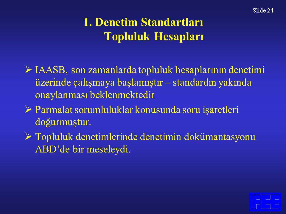 Slide 24 1. Denetim Standartları Topluluk Hesapları  IAASB, son zamanlarda topluluk hesaplarının denetimi üzerinde çalışmaya başlamıştır – standardın