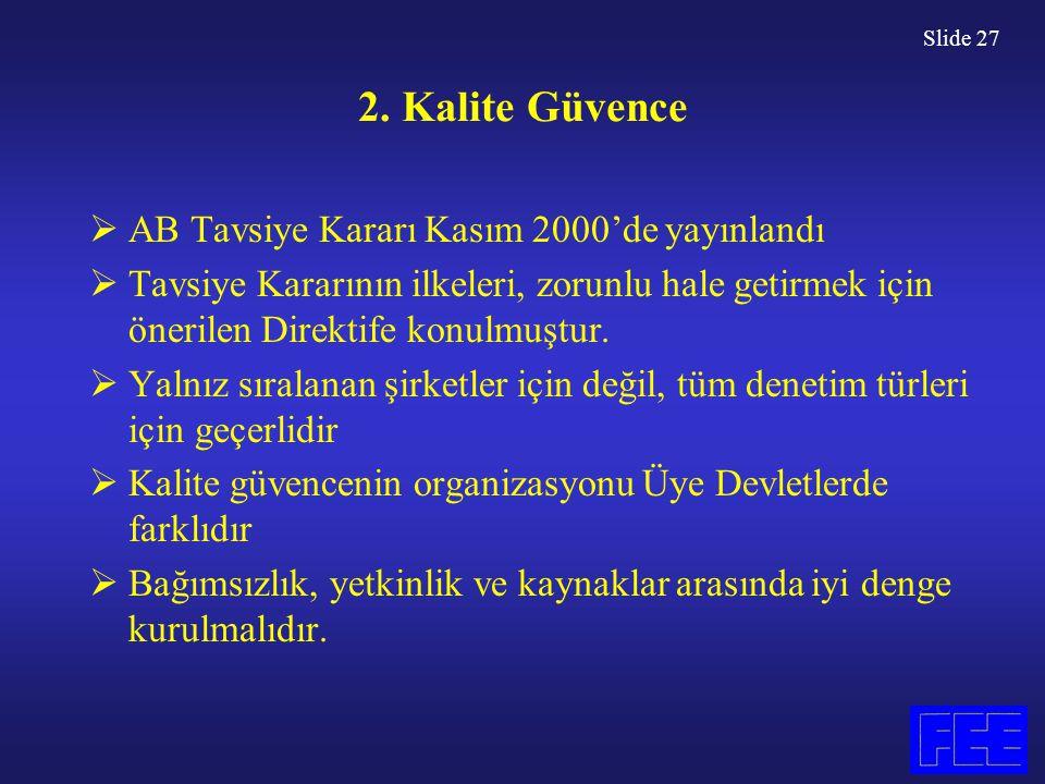 Slide 27 2. Kalite Güvence  AB Tavsiye Kararı Kasım 2000'de yayınlandı  Tavsiye Kararının ilkeleri, zorunlu hale getirmek için önerilen Direktife ko