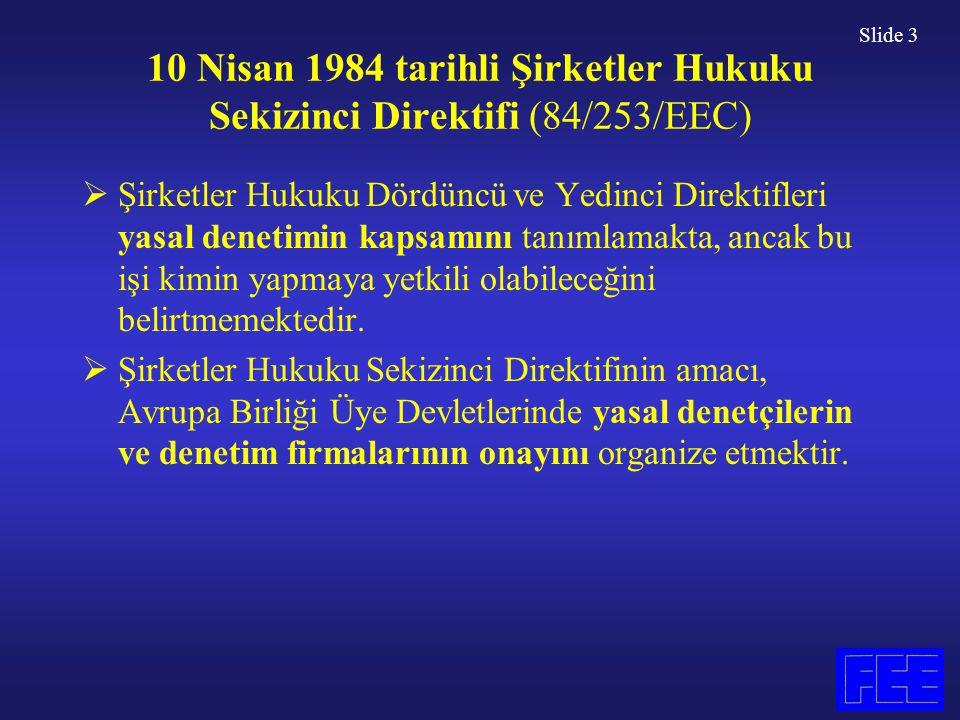 Slide 3 10 Nisan 1984 tarihli Şirketler Hukuku Sekizinci Direktifi (84/253/EEC)  Şirketler Hukuku Dördüncü ve Yedinci Direktifleri yasal denetimin ka