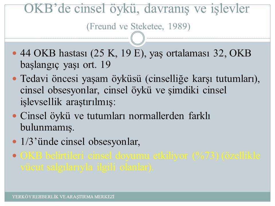 OKB'de cinsel öykü, davranış ve işlevler (Freund ve Steketee, 1989) 44 OKB hastası (25 K, 19 E), yaş ortalaması 32, OKB başlangıç yaşı ort.