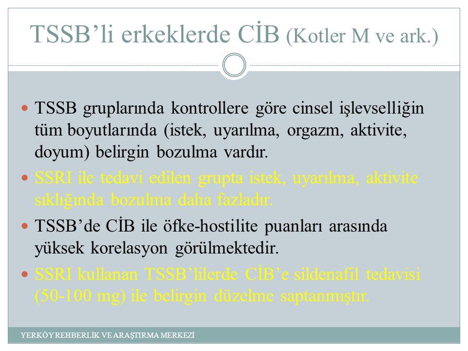 TSSB'li erkeklerde CİB (Kotler M ve ark.) TSSB gruplarında kontrollere göre cinsel işlevselliğin tüm boyutlarında (istek, uyarılma, orgazm, aktivite, doyum) belirgin bozulma vardır.