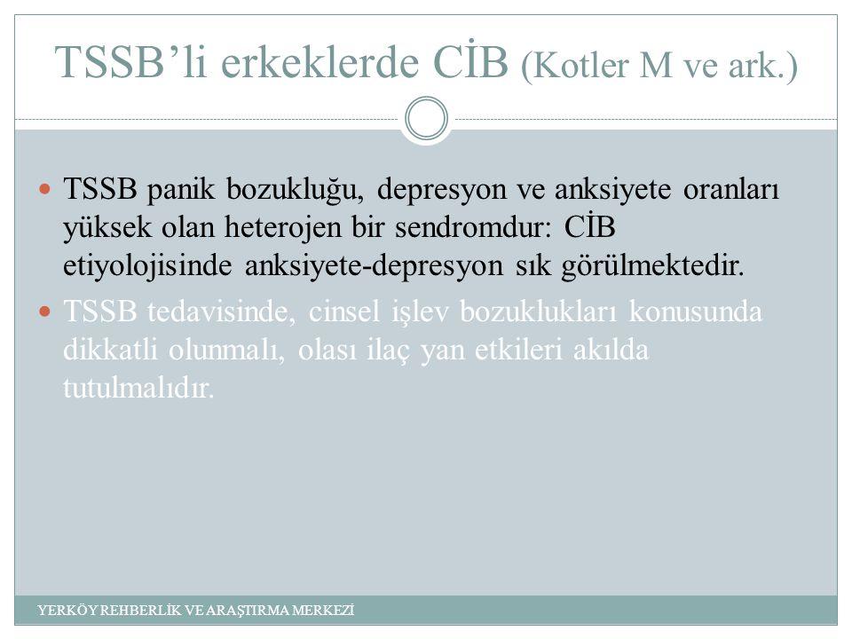 TSSB'li erkeklerde CİB (Kotler M ve ark.) TSSB panik bozukluğu, depresyon ve anksiyete oranları yüksek olan heterojen bir sendromdur: CİB etiyolojisinde anksiyete-depresyon sık görülmektedir.