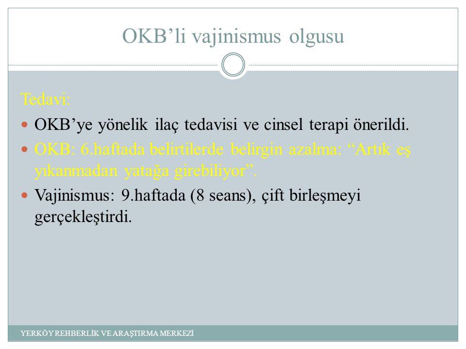 OKB'li vajinismus olgusu Tedavi: OKB'ye yönelik ilaç tedavisi ve cinsel terapi önerildi.