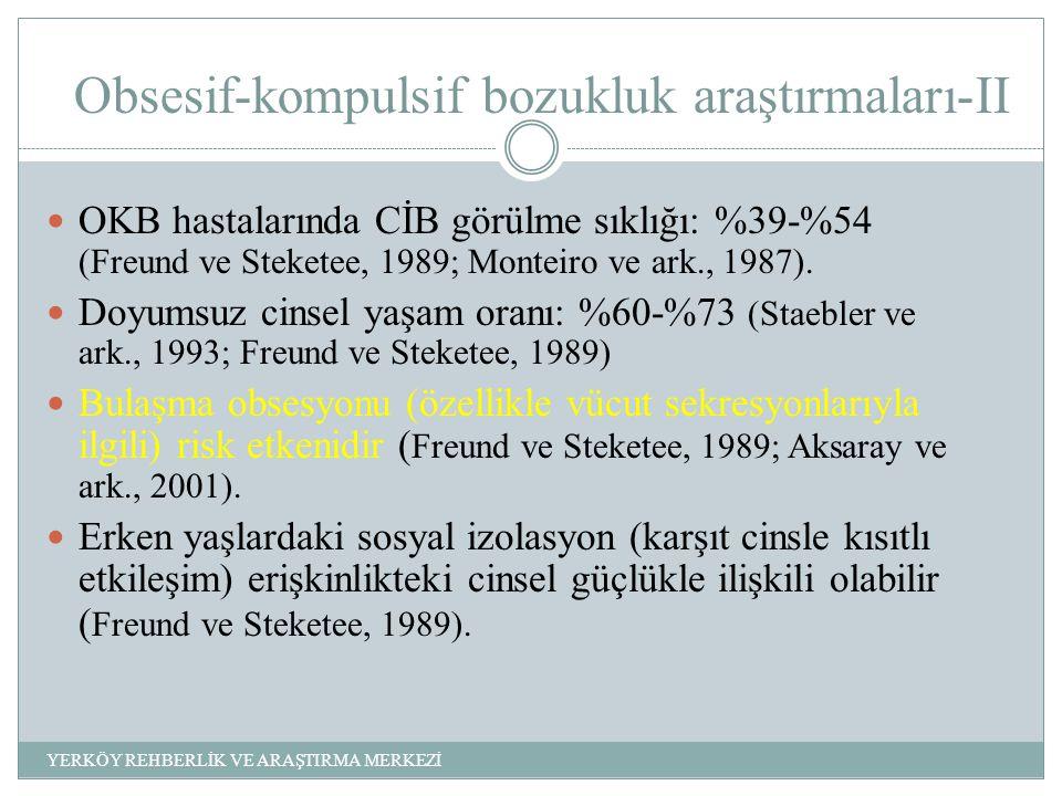 Obsesif-kompulsif bozukluk araştırmaları-II OKB hastalarında CİB görülme sıklığı: %39-%54 (Freund ve Steketee, 1989; Monteiro ve ark., 1987).