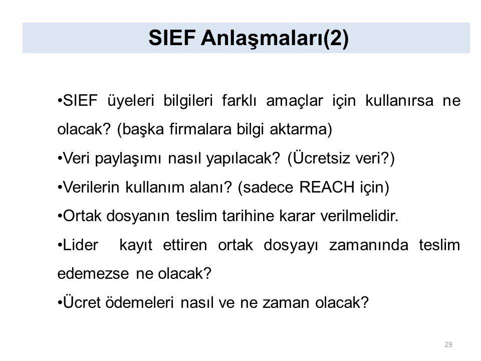 SIEF Anlaşmaları(2) SIEF üyeleri bilgileri farklı amaçlar için kullanırsa ne olacak? (başka firmalara bilgi aktarma) Veri paylaşımı nasıl yapılacak? (