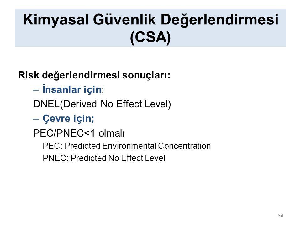 Kimyasal Güvenlik Değerlendirmesi (CSA) Risk değerlendirmesi sonuçları: –İnsanlar için; DNEL(Derived No Effect Level) –Çevre için; PEC/PNEC<1 olmalı PEC: Predicted Environmental Concentration PNEC: Predicted No Effect Level 34