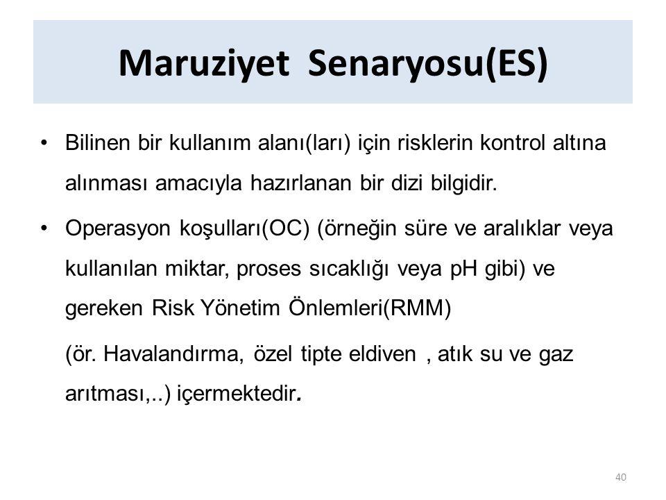 Maruziyet Senaryosu(ES) Bilinen bir kullanım alanı(ları) için risklerin kontrol altına alınması amacıyla hazırlanan bir dizi bilgidir.