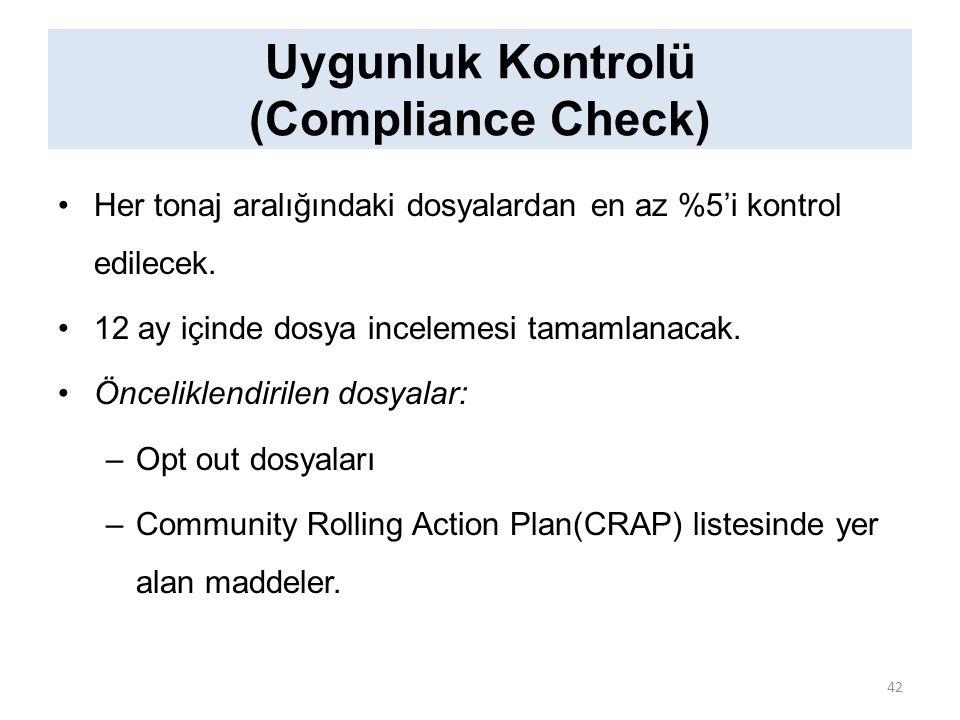 Uygunluk Kontrolü (Compliance Check) Her tonaj aralığındaki dosyalardan en az %5'i kontrol edilecek. 12 ay içinde dosya incelemesi tamamlanacak. Öncel