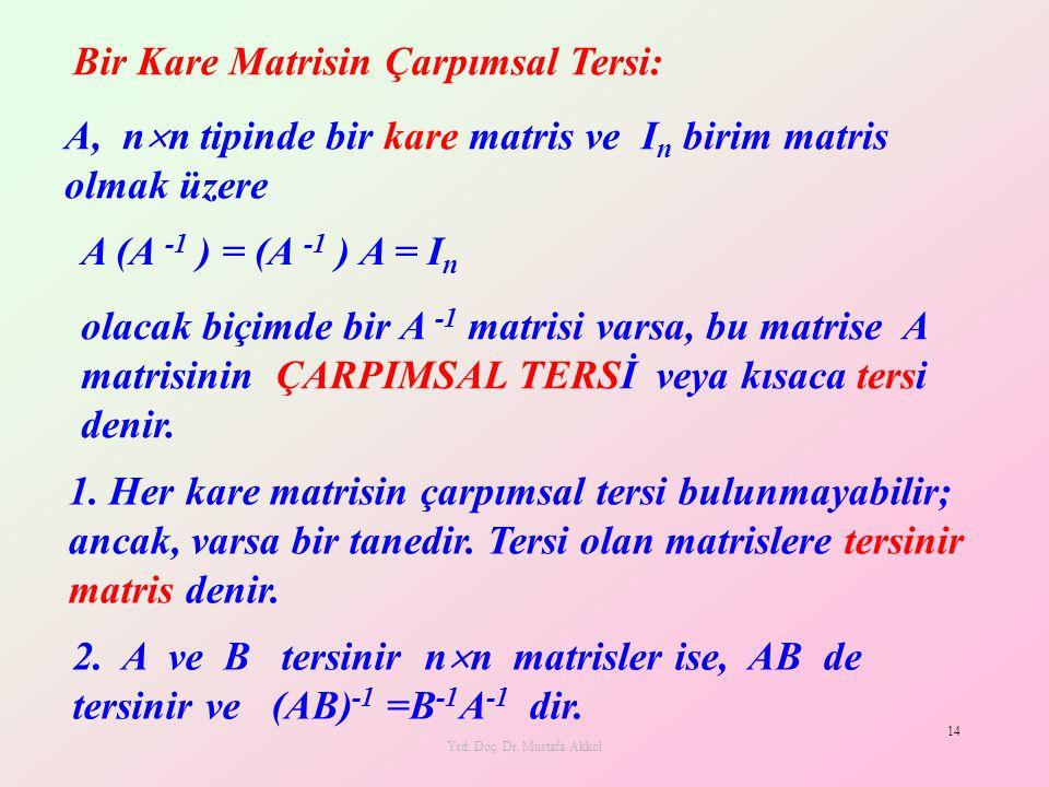 Yrd. Doç. Dr. Mustafa Akkol 14 A, n  n tipinde bir kare matris ve I n birim matris olmak üzere A (A -1 ) = (A -1 ) A = I n olacak biçimde bir A -1 ma