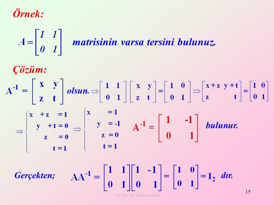 Yrd. Doç. Dr. Mustafa Akkol 15 Örnek: matrisinin varsa tersini bulunuz. bulunur. Çözüm: Gerçekten; dır. olsun.