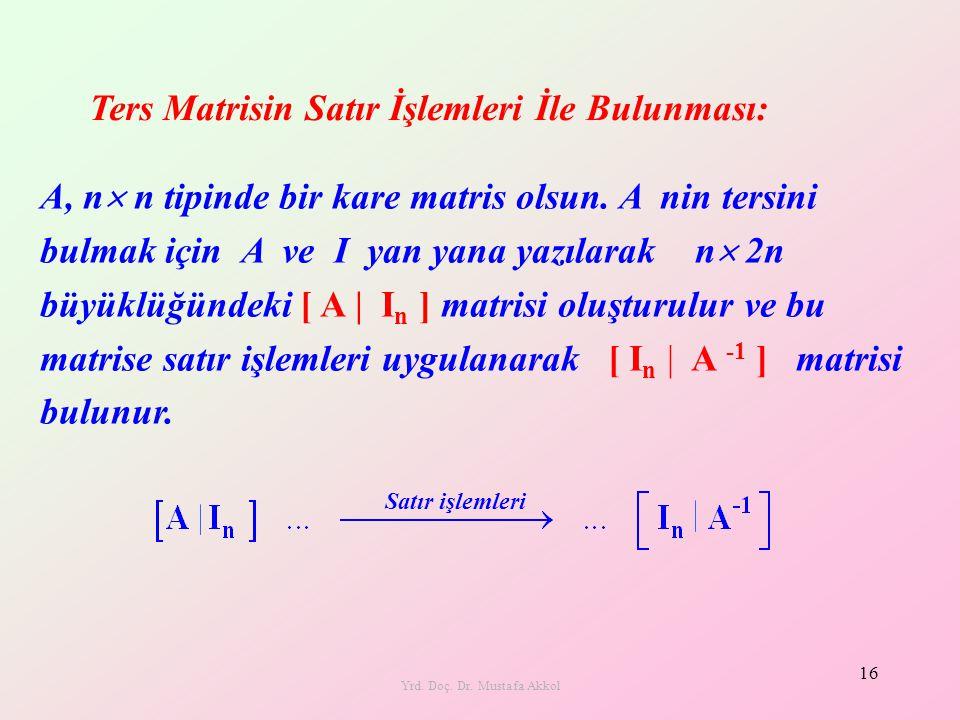 Yrd. Doç. Dr. Mustafa Akkol 16 A, n  n tipinde bir kare matris olsun. A nin tersini bulmak için A ve I yan yana yazılarak n  2n büyüklüğündeki [ A |