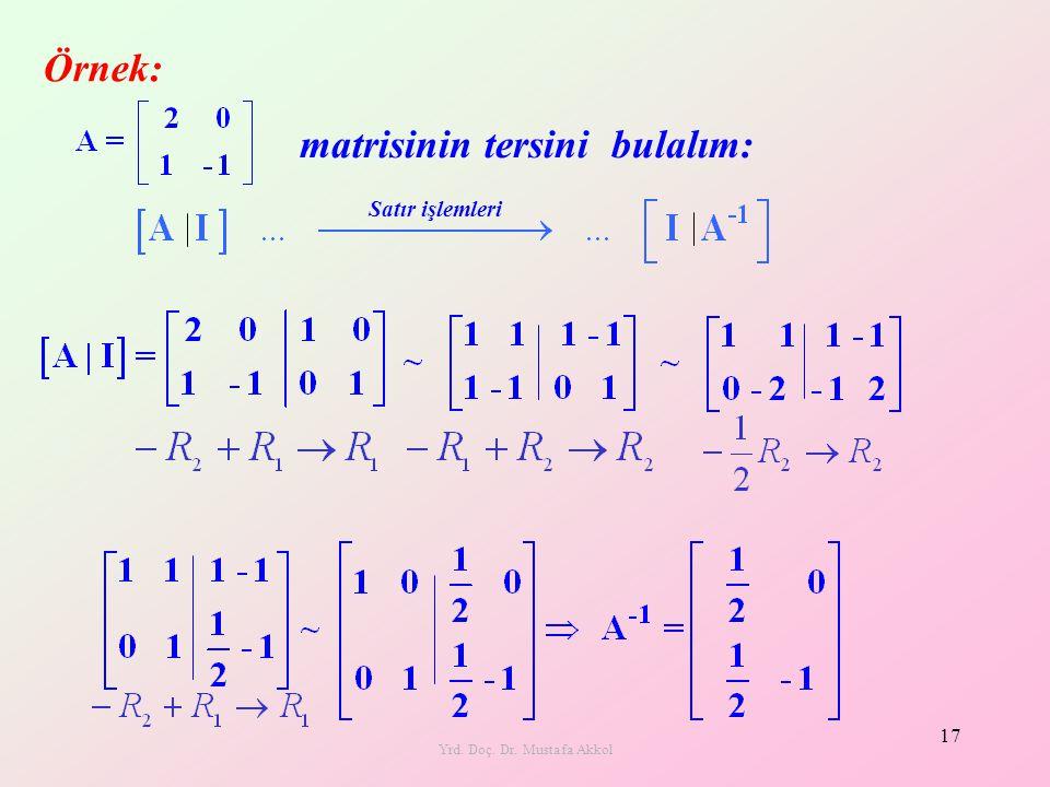 Yrd. Doç. Dr. Mustafa Akkol 17 matrisinin tersini bulalım: Örnek: Satır işlemleri