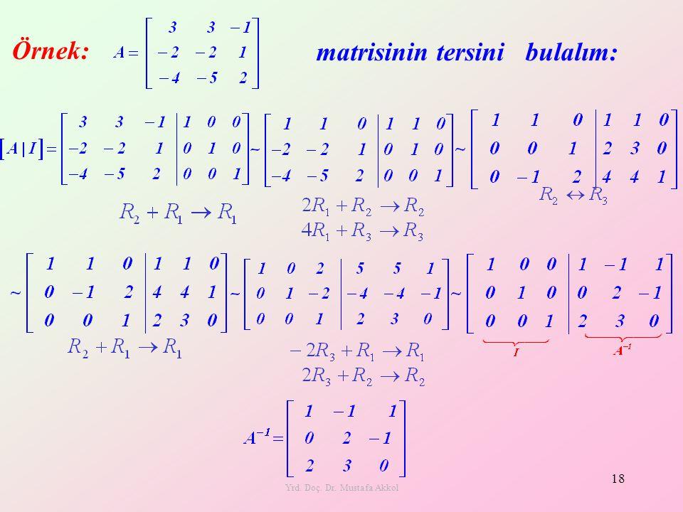 Yrd. Doç. Dr. Mustafa Akkol 18 Örnek: matrisinin tersini bulalım: