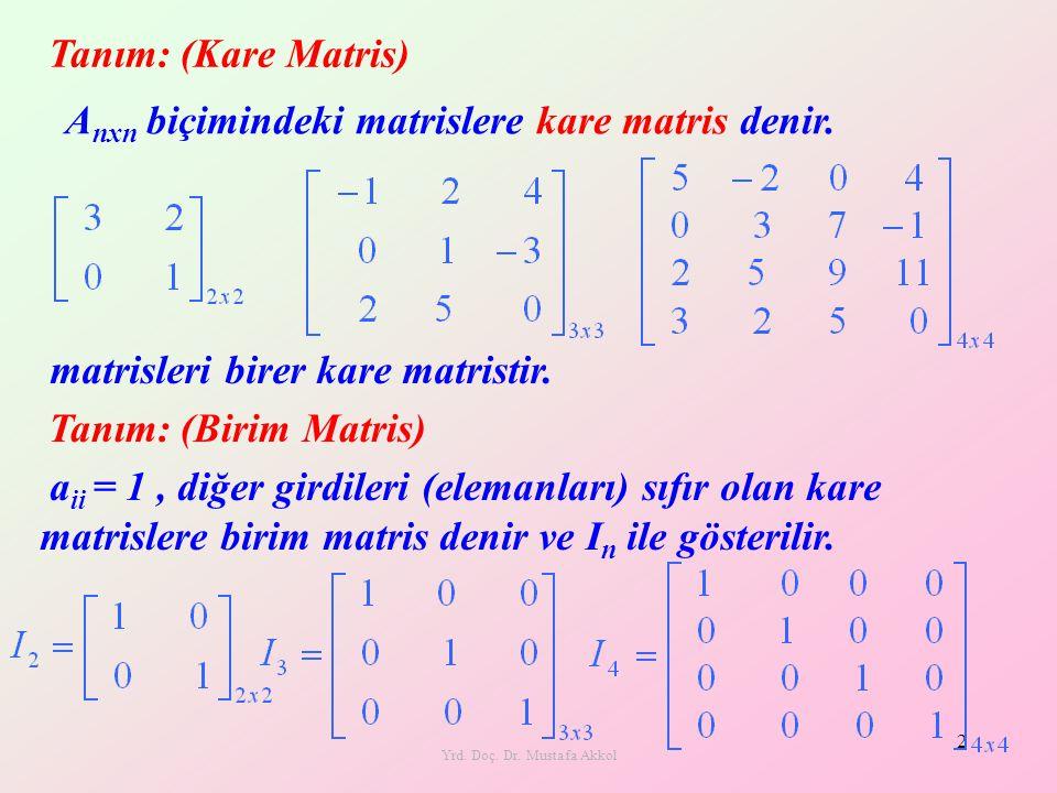 Yrd. Doç. Dr. Mustafa Akkol 2 Tanım: (Kare Matris) A nxn biçimindeki matrislere kare matris denir. matrisleri birer kare matristir. Tanım: (Birim Matr