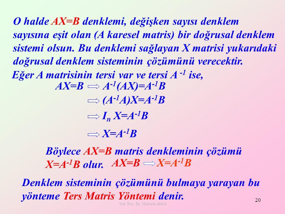 Yrd. Doç. Dr. Mustafa Akkol 20 O halde AX=B denklemi, değişken sayısı denklem sayısına eşit olan (A karesel matris) bir doğrusal denklem sistemi olsun