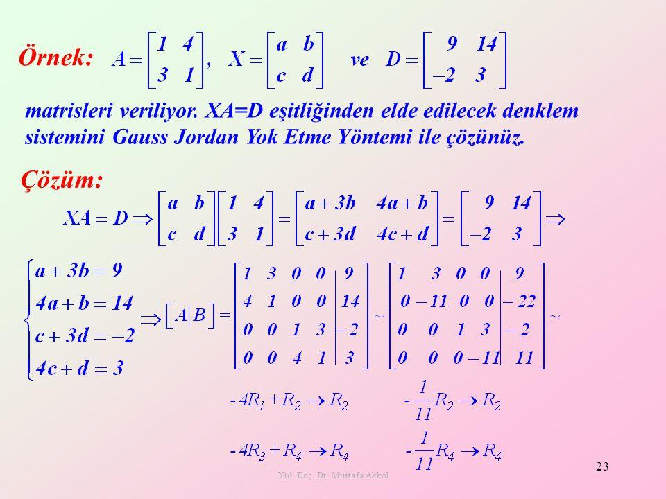 Yrd. Doç. Dr. Mustafa Akkol 23 matrisleri veriliyor. XA=D eşitliğinden elde edilecek denklem sistemini Gauss Jordan Yok Etme Yöntemi ile çözünüz. Örne