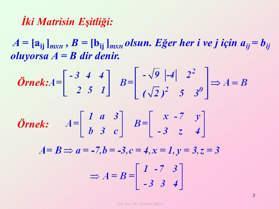 A = [a ij ] mxn, B = [b ij ] mxn olsun. Eğer her i ve j için a ij = b ij oluyorsa A = B dir denir. Yrd. Doç. Dr. Mustafa Akkol 3 İki Matrisin Eşitliği