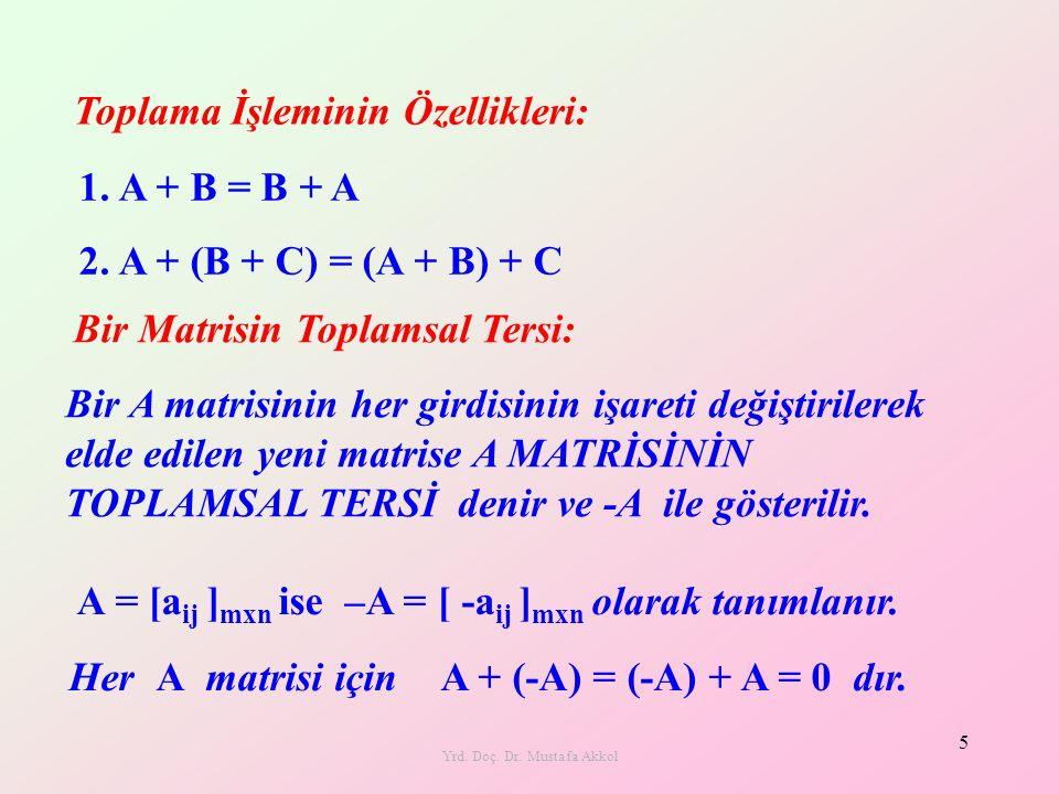 Yrd. Doç. Dr. Mustafa Akkol 5 Toplama İşleminin Özellikleri: Bir A matrisinin her girdisinin işareti değiştirilerek elde edilen yeni matrise A MATRİSİ