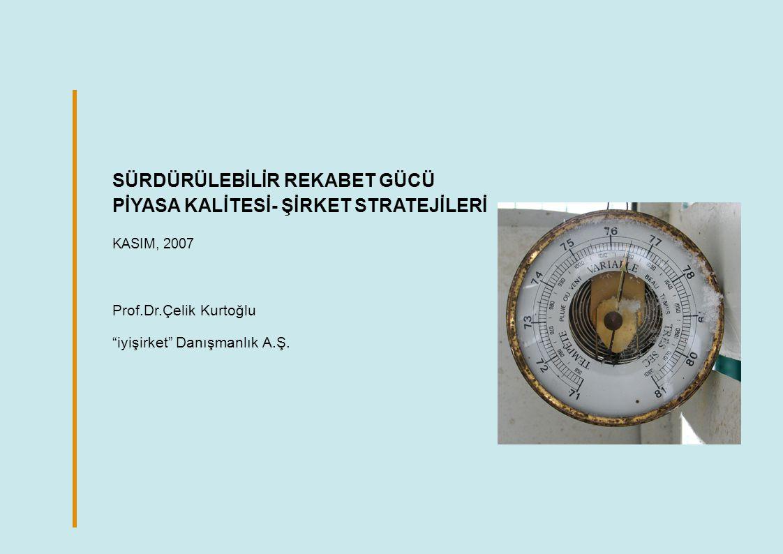 SÜRDÜRÜLEBİLİR REKABET GÜCÜ PİYASA KALİTESİ- ŞİRKET STRATEJİLERİ KASIM, 2007 Prof.Dr.Çelik Kurtoğlu iyişirket Danışmanlık A.Ş.