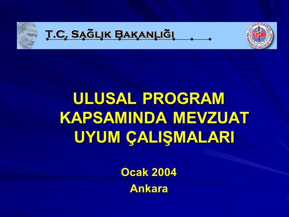 ULUSAL PROGRAM KAPSAMINDA MEVZUAT UYUM ÇALIŞMALARI Ocak 2004 Ankara