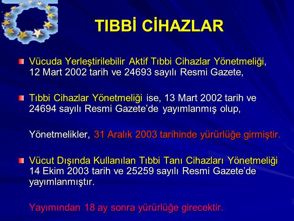 TIBBİ CİHAZLAR TIBBİ CİHAZLAR Vücuda Yerleştirilebilir Aktif Tıbbi Cihazlar Yönetmeliği, 12 Mart 2002 tarih ve 24693 sayılı Resmi Gazete, Tıbbi Cihazlar Yönetmeliği ise, 13 Mart 2002 tarih ve 24694 sayılı Resmi Gazete'de yayımlanmış olup, Yönetmelikler, 31 Aralık 2003 tarihinde yürürlüğe girmiştir.