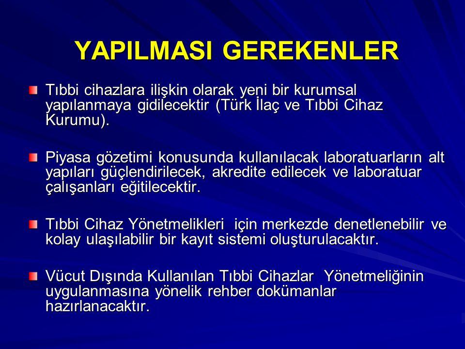 YAPILMASI GEREKENLER Tıbbi cihazlara ilişkin olarak yeni bir kurumsal yapılanmaya gidilecektir (Türk İlaç ve Tıbbi Cihaz Kurumu).
