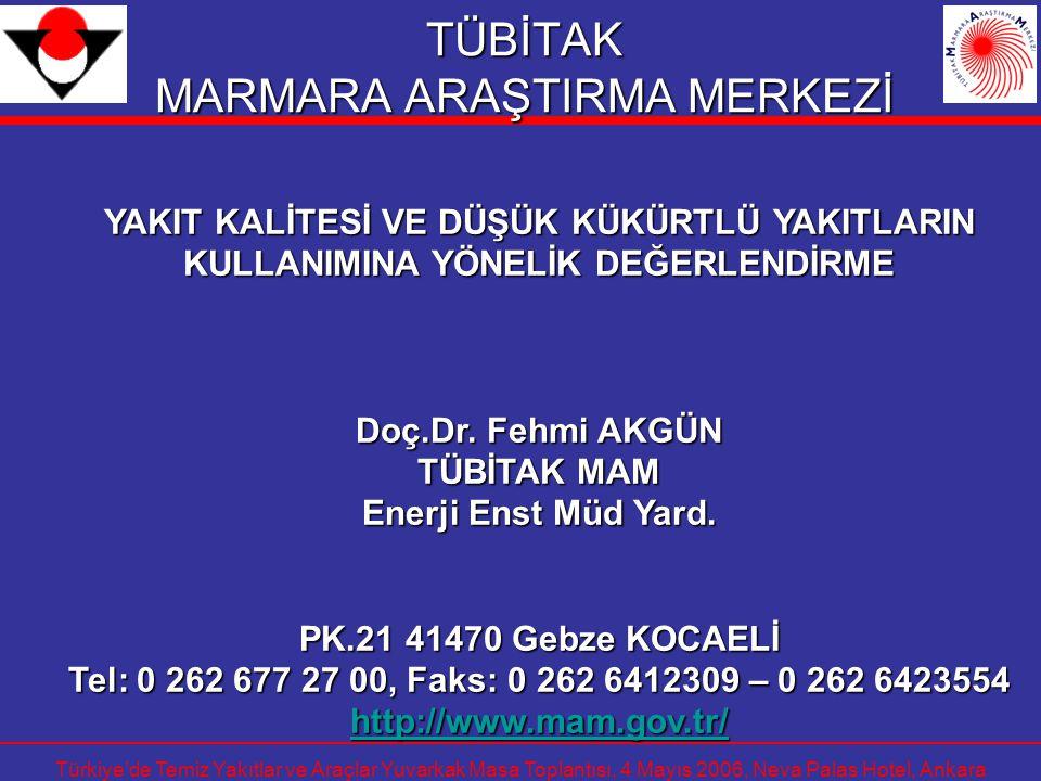 Türkiye'de Temiz Yakıtlar ve Araçlar Yuvarkak Masa Toplantısı, 4 Mayıs 2006, Neva Palas Hotel, Ankara TÜBİTAK MARMARA ARAŞTIRMA MERKEZİ YAKIT KALİTESİ
