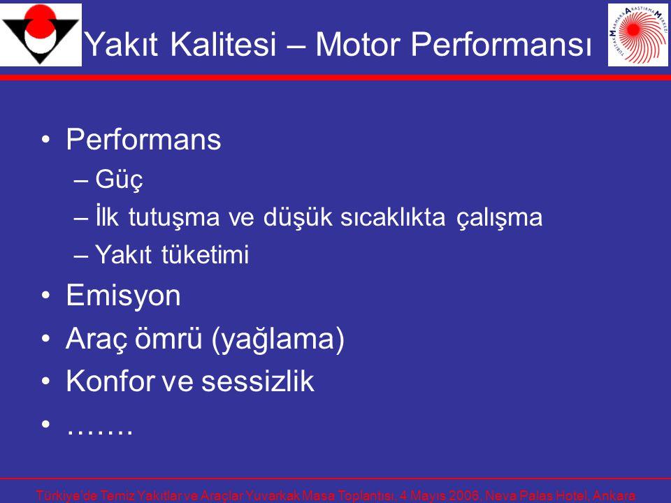 Türkiye'de Temiz Yakıtlar ve Araçlar Yuvarkak Masa Toplantısı, 4 Mayıs 2006, Neva Palas Hotel, Ankara Yakıt Kalitesi – Motor Performansı Performans –G