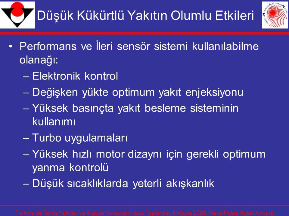 Türkiye'de Temiz Yakıtlar ve Araçlar Yuvarkak Masa Toplantısı, 4 Mayıs 2006, Neva Palas Hotel, Ankara Düşük Kükürtlü Yakıtın Olumlu Etkileri Performan