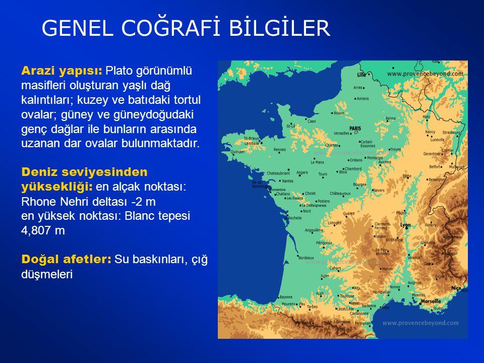 Coğrafi Konumu : Kuzeyinde Manş denizi, kuzeydoğusunda Belçika, Lüksemburg, Almanya, doğusunda İsviçre, güney doğusunda İtalya, güneyinde İspanya ve A