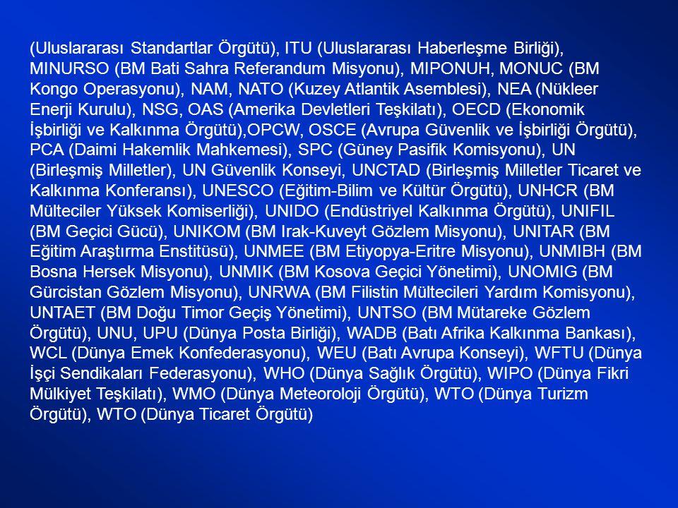 (Uluslararası Standartlar Örgütü), ITU (Uluslararası Haberleşme Birliği), MINURSO (BM Bati Sahra Referandum Misyonu), MIPONUH, MONUC (BM Kongo Operasyonu), NAM, NATO (Kuzey Atlantik Asemblesi), NEA (Nükleer Enerji Kurulu), NSG, OAS (Amerika Devletleri Teşkilatı), OECD (Ekonomik İşbirliği ve Kalkınma Örgütü),OPCW, OSCE (Avrupa Güvenlik ve İşbirliği Örgütü), PCA (Daimi Hakemlik Mahkemesi), SPC (Güney Pasifik Komisyonu), UN (Birleşmiş Milletler), UN Güvenlik Konseyi, UNCTAD (Birleşmiş Milletler Ticaret ve Kalkınma Konferansı), UNESCO (Eğitim-Bilim ve Kültür Örgütü), UNHCR (BM Mülteciler Yüksek Komiserliği), UNIDO (Endüstriyel Kalkınma Örgütü), UNIFIL (BM Geçici Gücü), UNIKOM (BM Irak-Kuveyt Gözlem Misyonu), UNITAR (BM Eğitim Araştırma Enstitüsü), UNMEE (BM Etiyopya-Eritre Misyonu), UNMIBH (BM Bosna Hersek Misyonu), UNMIK (BM Kosova Geçici Yönetimi), UNOMIG (BM Gürcistan Gözlem Misyonu), UNRWA (BM Filistin Mültecileri Yardım Komisyonu), UNTAET (BM Doğu Timor Geçiş Yönetimi), UNTSO (BM Mütareke Gözlem Örgütü), UNU, UPU (Dünya Posta Birliği), WADB (Batı Afrika Kalkınma Bankası), WCL (Dünya Emek Konfederasyonu), WEU (Batı Avrupa Konseyi), WFTU (Dünya İşçi Sendikaları Federasyonu), WHO (Dünya Sağlık Örgütü), WIPO (Dünya Fikri Mülkiyet Teşkilatı), WMO (Dünya Meteoroloji Örgütü), WTO (Dünya Turizm Örgütü), WTO (Dünya Ticaret Örgütü)
