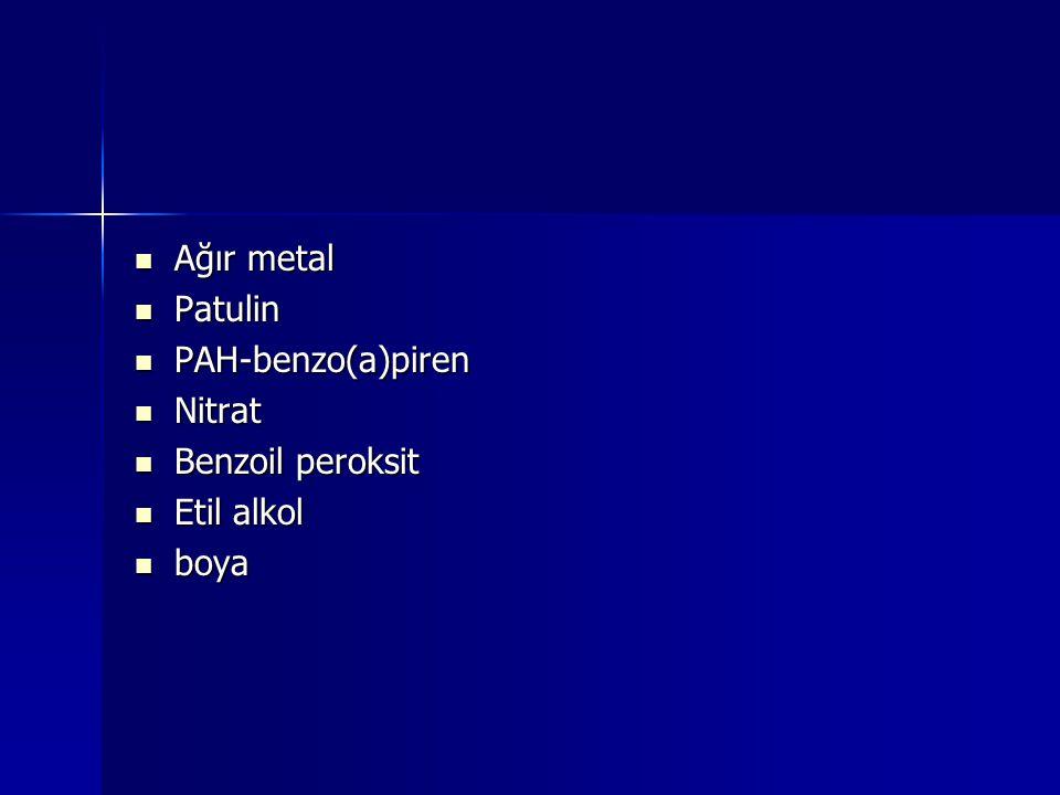 Ağır metal Ağır metal Patulin Patulin PAH-benzo(a)piren PAH-benzo(a)piren Nitrat Nitrat Benzoil peroksit Benzoil peroksit Etil alkol Etil alkol boya b