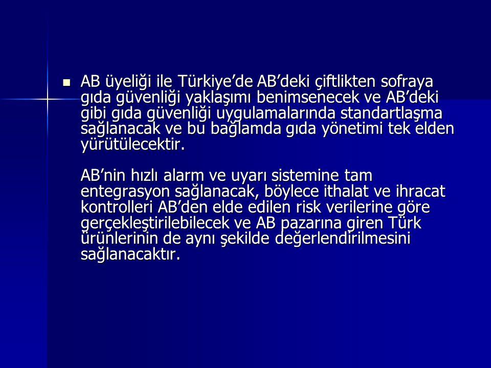 AB üyeliği ile Türkiye'de AB'deki çiftlikten sofraya gıda güvenliği yaklaşımı benimsenecek ve AB'deki gibi gıda güvenliği uygulamalarında standartlaşm