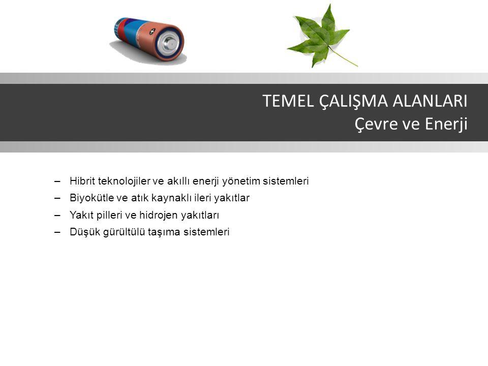 –Hibrit teknolojiler ve akıllı enerji yönetim sistemleri –Biyokütle ve atık kaynaklı ileri yakıtlar –Yakıt pilleri ve hidrojen yakıtları –Düşük gürültülü taşıma sistemleri TEMEL ÇALIŞMA ALANLARI Çevre ve Enerji