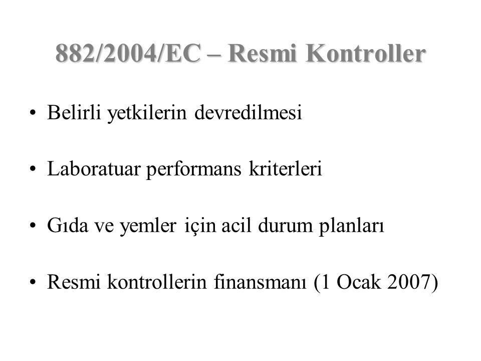 Belirli yetkilerin devredilmesi Laboratuar performans kriterleri Gıda ve yemler için acil durum planları Resmi kontrollerin finansmanı (1 Ocak 2007) 8