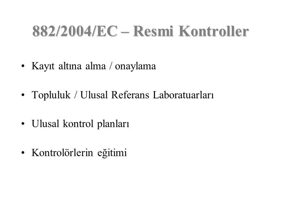 Kayıt altına alma / onaylama Topluluk / Ulusal Referans Laboratuarları Ulusal kontrol planları Kontrolörlerin eğitimi 882/2004/EC – Resmi Kontroller