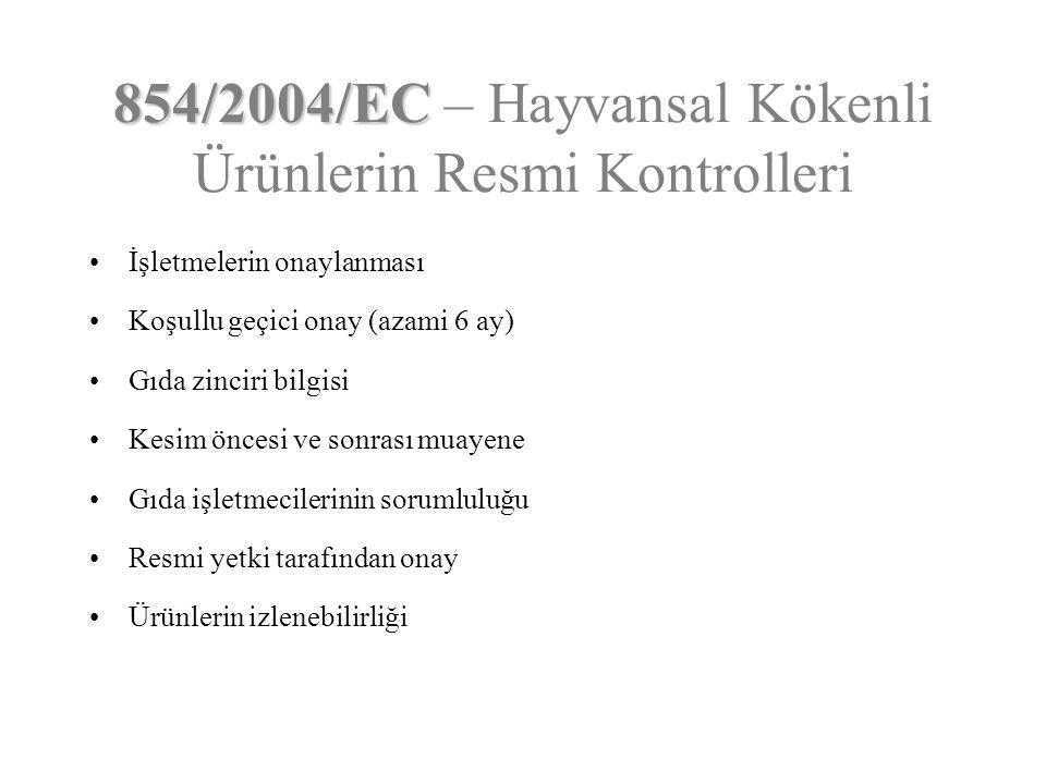 854/2004/EC 854/2004/EC – Hayvansal Kökenli Ürünlerin Resmi Kontrolleri İşletmelerin onaylanması Koşullu geçici onay (azami 6 ay) Gıda zinciri bilgisi
