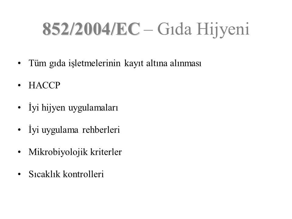 Tüm gıda işletmelerinin kayıt altına alınması HACCP İyi hijyen uygulamaları İyi uygulama rehberleri Mikrobiyolojik kriterler Sıcaklık kontrolleri 852/