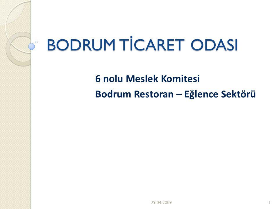BODRUM T İ CARET ODASI 6 nolu Meslek Komitesi Bodrum Restoran – Eğlence Sektörü 29.04.20091