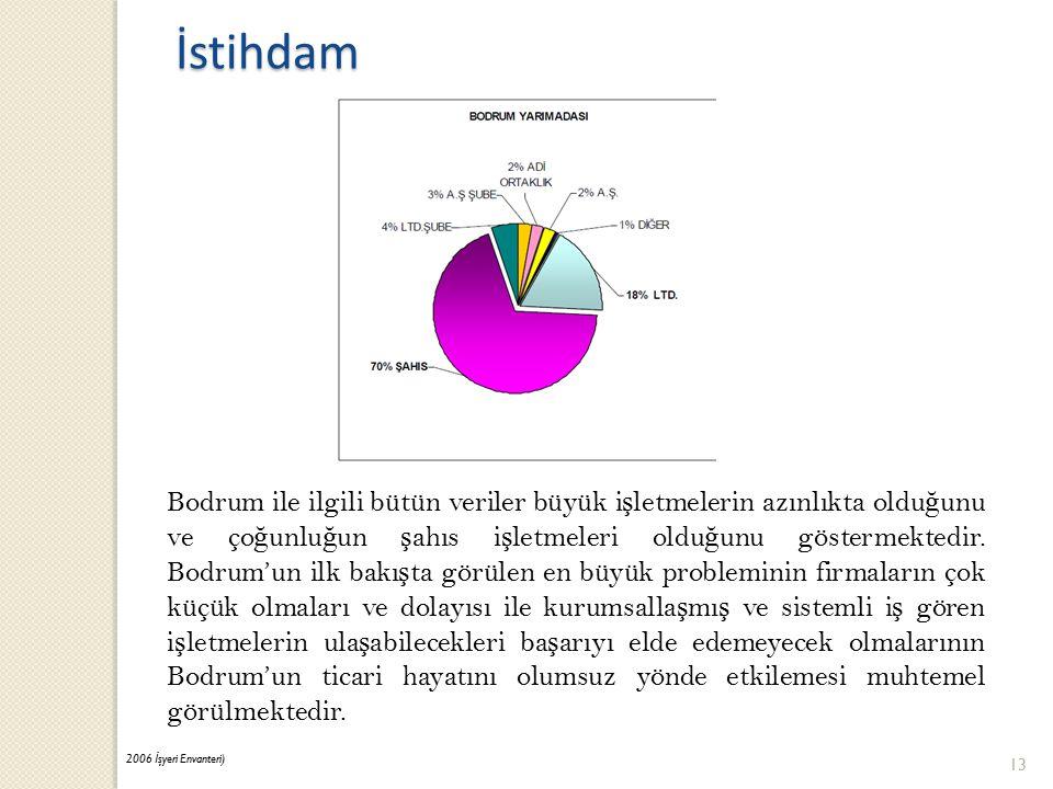 Bodrum ile ilgili bütün veriler büyük i ş letmelerin azınlıkta oldu ğ unu ve ço ğ unlu ğ un ş ahıs i ş letmeleri oldu ğ unu göstermektedir.