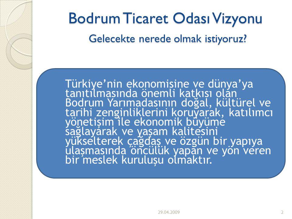 2 ◦ Türkiye'nin ekonomisine ve dünya'ya tanıtılmasında önemli katkısı olan Bodrum Yarımadasının doğal, kültürel ve tarihi zenginliklerini koruyarak, katılımcı yönetişim ile ekonomik büyüme sağlayarak ve yaşam kalitesini yükselterek çağdaş ve özgün bir yapıya ulaşmasında öncülük yapan ve yön veren bir meslek kuruluşu olmaktır.
