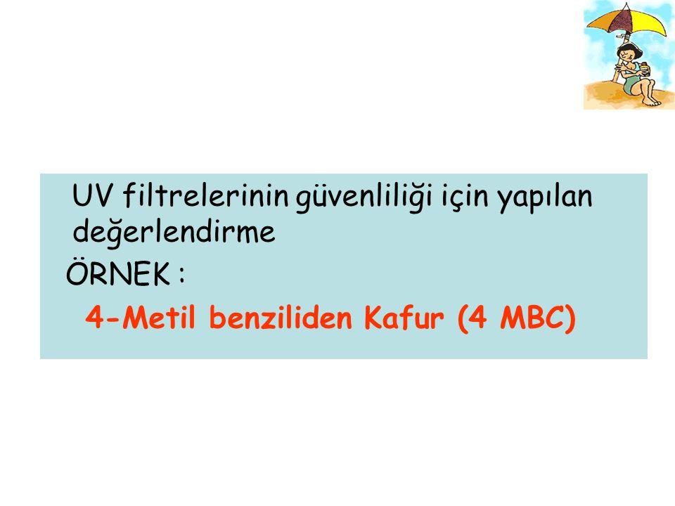 4-Methyl benzylidene Camphor (4 MBC)  AB pazarlarındaki çeşitli kozmetik ürünlerde (maks.